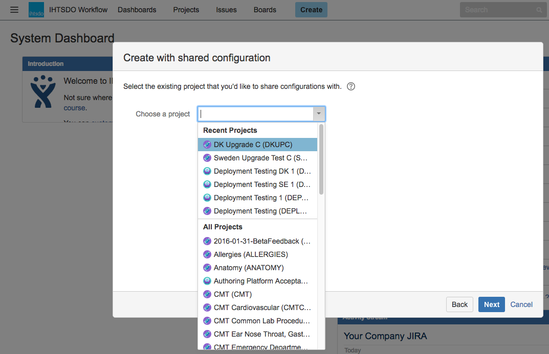 Creating an AP Project in Jira - SNOMED International Authoring