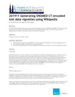 201911 Generating SNOMED CT-encoded test data vignettes