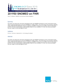 201950 SNOMED CT on FHIR - SNOMED CT Expo - SNOMED Confluence